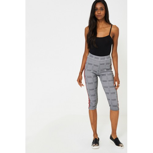 Dog Tooth Check Side Stripe Cropped Leggings