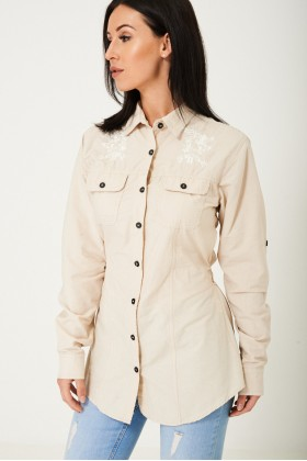 Tie Waist Shirt in Cream