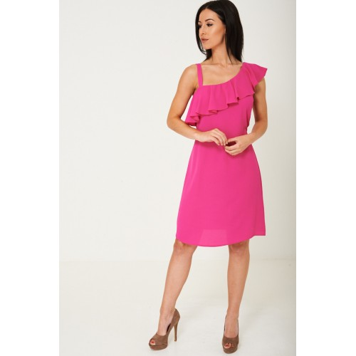 Pretty in Pink Ruffle Dress Plus Sizes