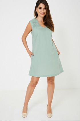Green Sleeveless Tunic Dress