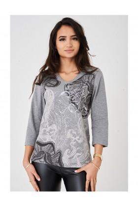 Ladies Embellished Grey Long Sleeve Top