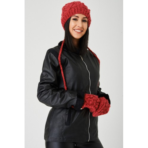 Red Beanie Hat and Gloves Set