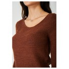 Crochet Knit Brown Jumper Ribbed Trim