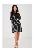 Black Chiffon Dress in Stripes