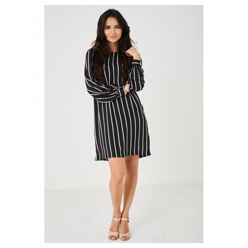 Black Chiffon Dress in Stripes