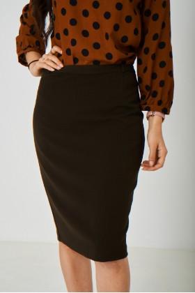 Brown Straight Pencil Skirt