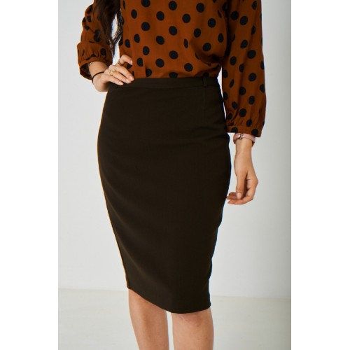 Brown Straight Pencil Skirt