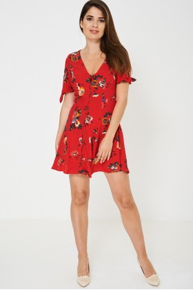Pretty Red Sun Dress In Vintage Floral