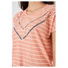 Ladies Coral Crochet Detail Top in Stripes