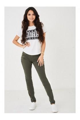 Ladies Khaki Jeans Push Up Look