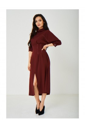 Vintage Burgundy High Neck Dress