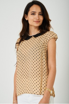 Printed Chiffon Top in Beige