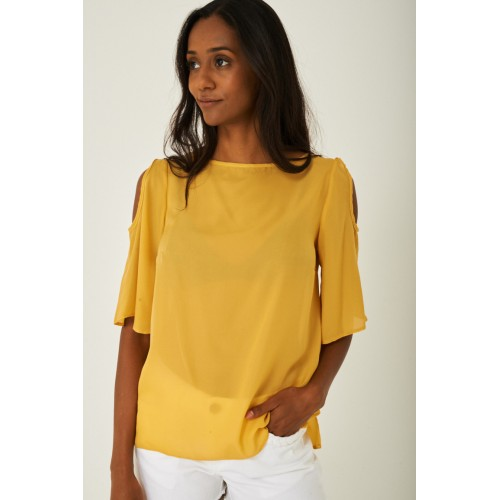 Cold Shoulder Top in Yellow
