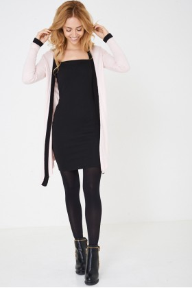 Long Open Front Knitted Cardigan in Pink