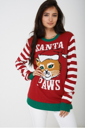 Novelty Christmas Jumper Cat Santa Paws Unisex