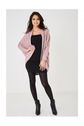 Ladies Burnout Knit Pink Cardigan