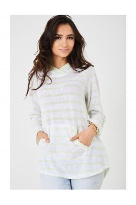 Ladies Hooded Jumper with Stripes