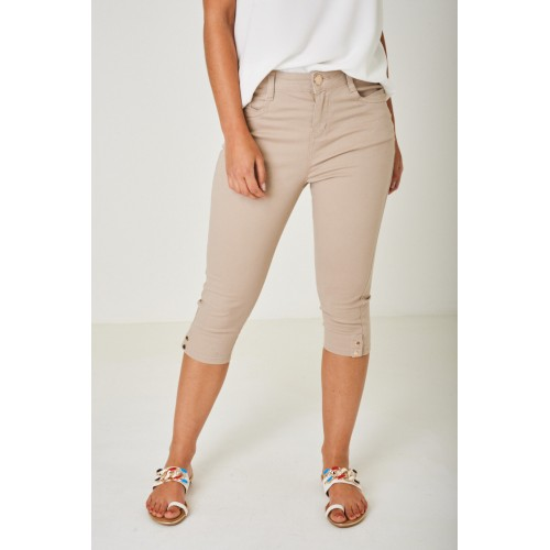 Cropped 3/4 Length Jeans in Light Mocha