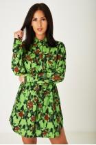 Stylish Floral Print Shirt Dress in Green
