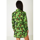 Stylish Floral Print Shirt Dress in Green