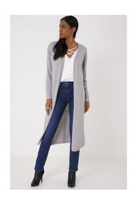 Long Grey Cardigan Knitted