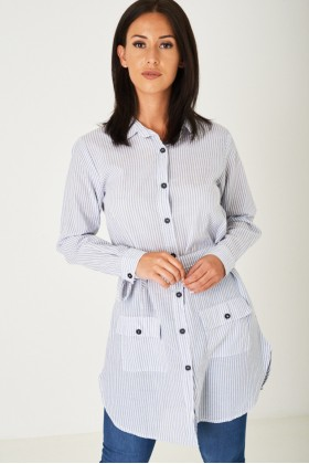 Shirt Dress in Stripes