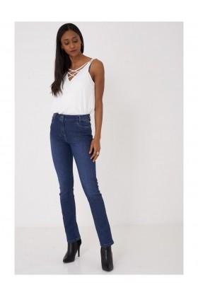Ladies Blue Straight Leg Jeans