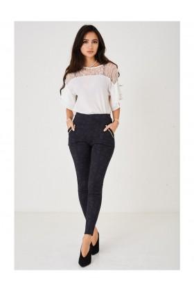 Ladies Paisley Print Navy Trousers High Waist
