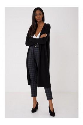 Long Black Cardigan Knitted Longline