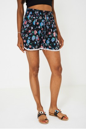 Crochet Detail Floral Shorts in Black