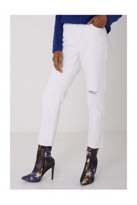 Ladies White Distressed Jeans