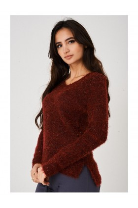 Burgundy Jumper Fluffy with Embroidery