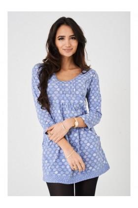 Ladies Blue Printed Tunic Top