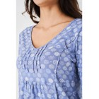 Ladies Blue Printed Tunic Top