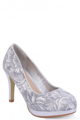 Silver Glitter Lace High Heel Shoes