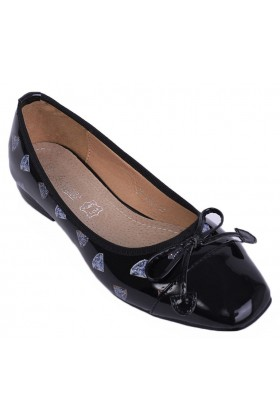 Diamond Print Patent Flats Black Shoes