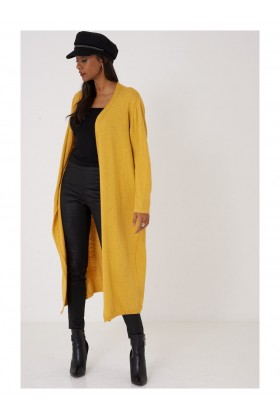 Ladies Yellow Cardigan Long Knitted