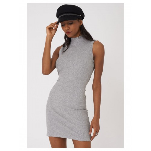 High Neck Bodycon Dress in Light Grey