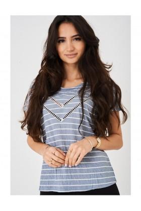 Ladies Blue Crochet Detail Top in Stripes