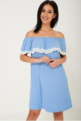 Off Shoulder Lace Detail Dress in Blue