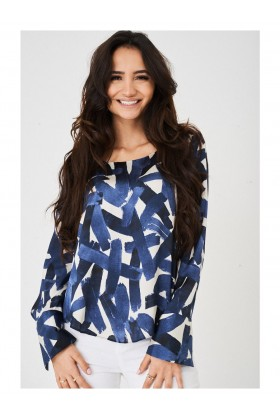 Ladies Satin Touch Printed Blouse