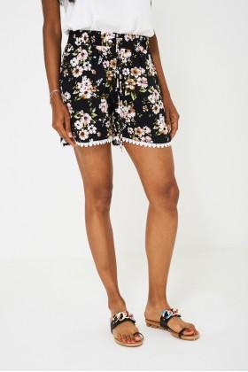 Crochet Detail Floral Shorts