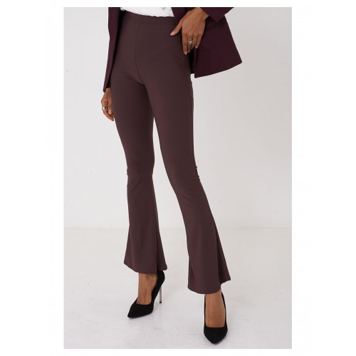 Bootcut Flare Purple Trousers High Rise Waist