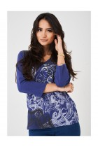 Ladies Embellished Blue Top Long Sleeves