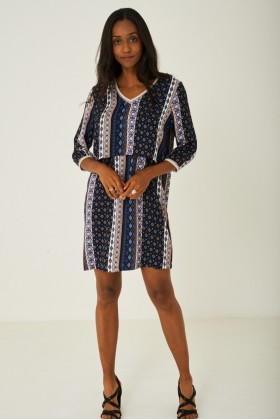 Printed Casual Dress Layered Front