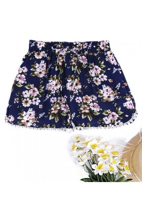 Navy Crochet Detail Shorts in Floral Print