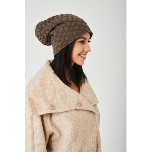 Brown Textured Beanie Hat