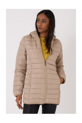 Quilted Jacket with Hood in Beige