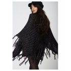 Black Poncho with Metallic Insert