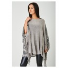 Grey Crochet Knit Poncho